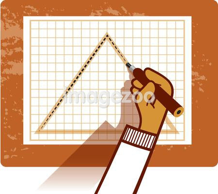 A person drawing a triangle on a graph