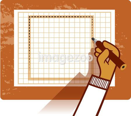 A person drawing a square on a graph