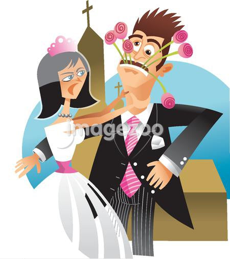 A bride choking her groom