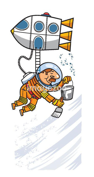 An astronaut hanging off of a rocket ship while holding a paint brush and bucket