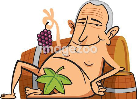 A naked man holding grapes and sitting with a leaf to cover himself