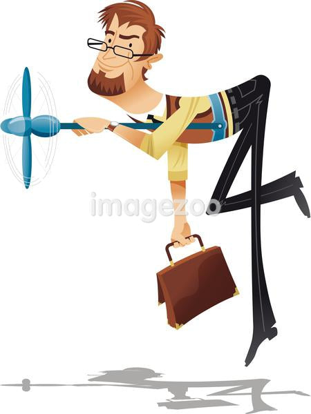 A man being lifted by a propeller