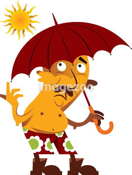 A man holding an umbrella under the sun