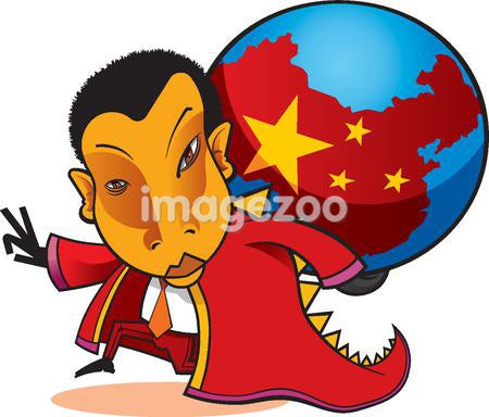 A man holding a globe with China on it