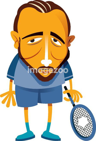 A man holding a broken tennis racket