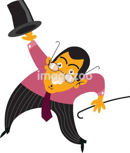 A businessman with a top hat and cane