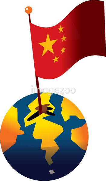 Flag of China sticking out of a globe