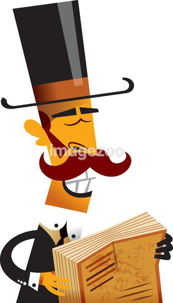 A man carrying a top hat and book