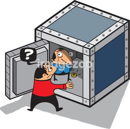 A man discovering a man inside a safe with almost no money