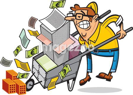 A man with a wheelbarrow full of documents and money