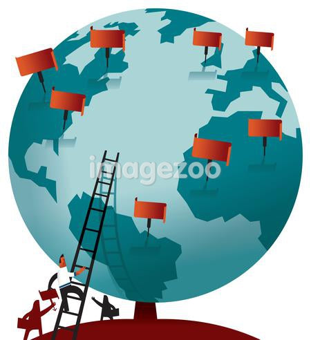 A man climbing the globe using a ladder