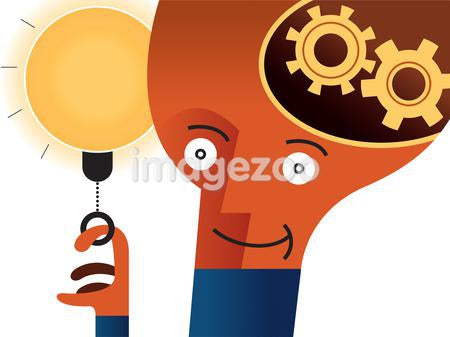 A man with gears inside of his head who is turning on a light bulb