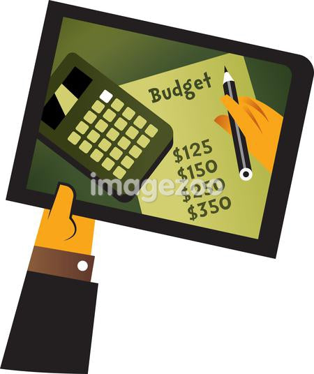 A hand holding a tablet with a picture of someone writing a budget