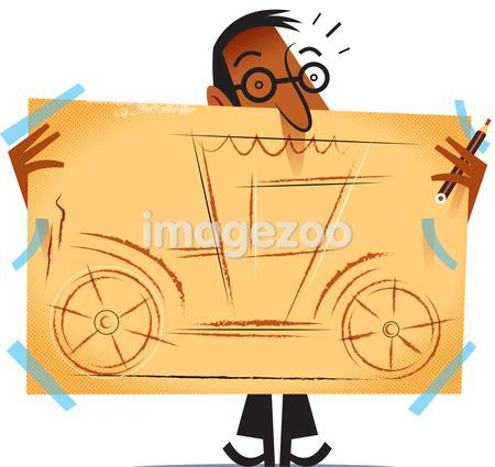 A man carrying a drawing of a car.