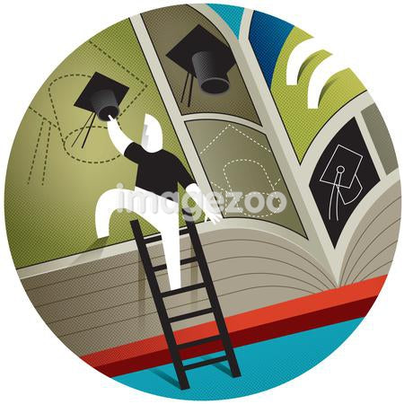 A man climbing a ladder to reach a graduation cap