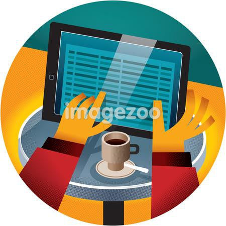 A person reading his tablet while having his morning coffee