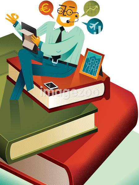 A busy man at work sitting on a pile of books