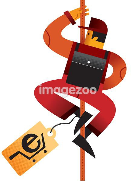 A man climbing a cable with a e-commerce shopping tag attached to him