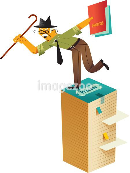 An old man on a pile of files that need to be processed
