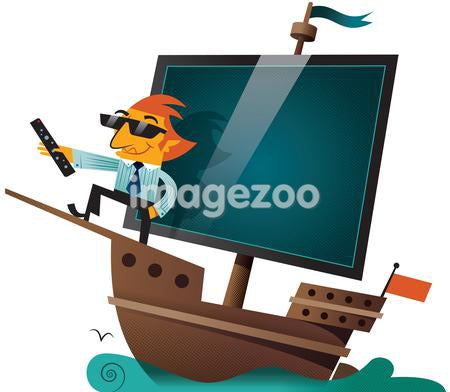 A man holding a remote control of a boat with a tv screen for sails