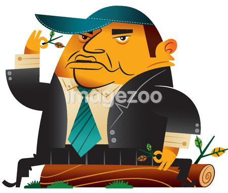 A businessman sitting on a log