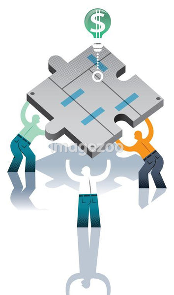 Three guys putting puzzle pieces together