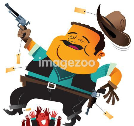 A man trying on a cowboy hat and gun