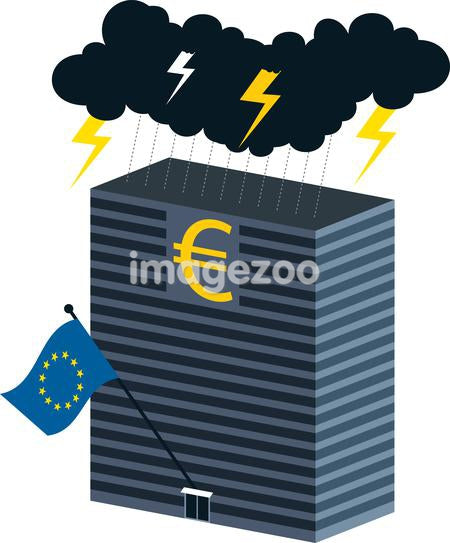 A building with a euro sign being struck by lightning