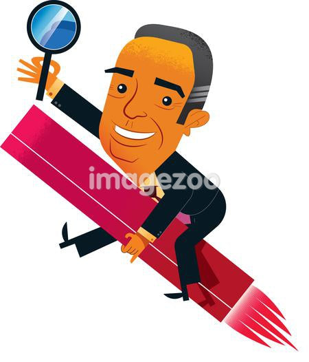 A businessman holding a magnifying glass while riding on a rocket