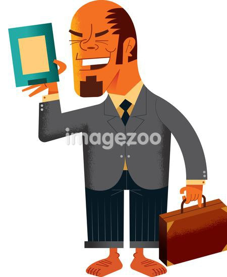 A smiling businessman holding a piece of paper