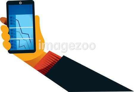 A hand holding a cell phone with declining stock market information