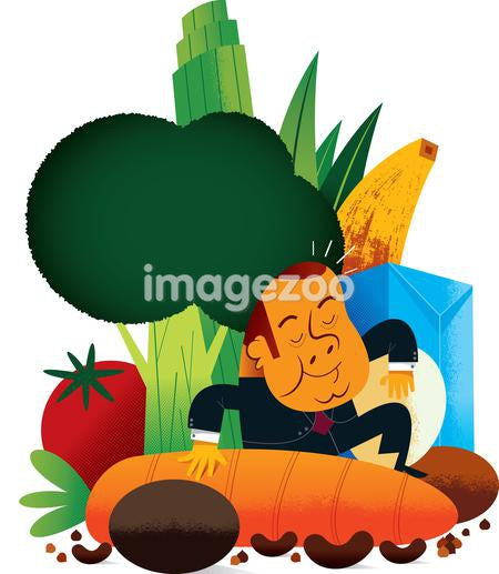 A man in the midst of large scale food