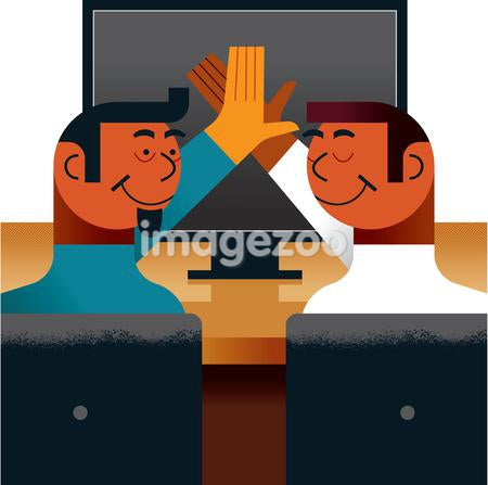 Two men high fiving infront of a computer screen
