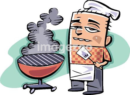 A cook standing by a barbecue grill