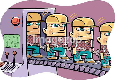 Cloned workers coming out of a machine on a conveyor belt
