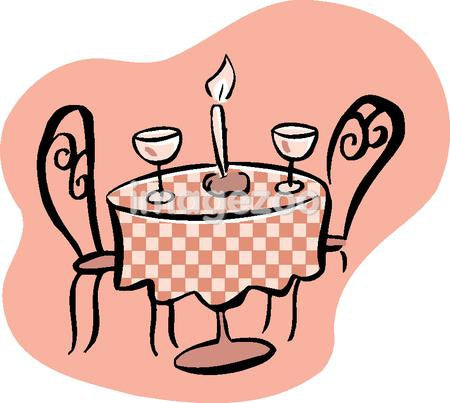 Drawing of a romantic table setting with two wine glasses and a candle