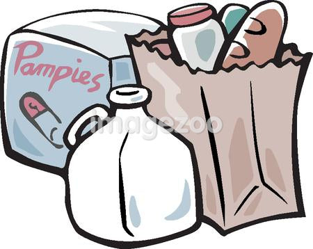A drawing of grocery products including baby nappies and a bottle of milk