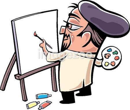 A drawing of a painter at work