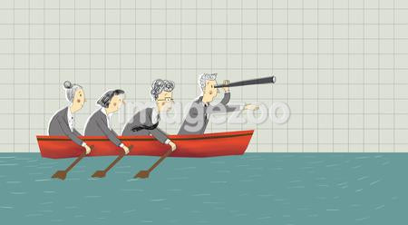 Four business people in a rowboat