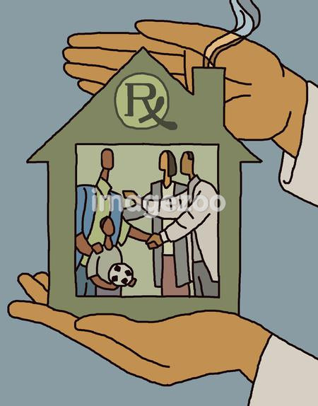 Hands holding a house with a doctor giving home health care to a family inside