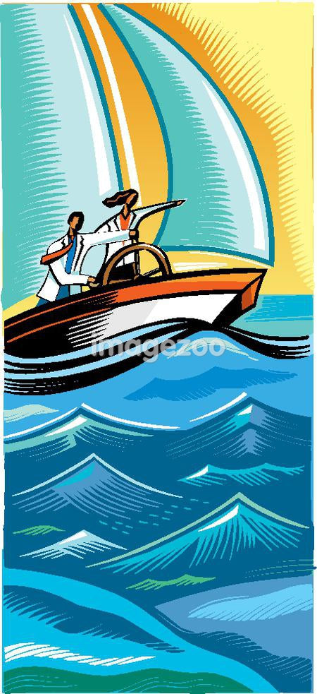 Two doctors navigating a boat through rough water