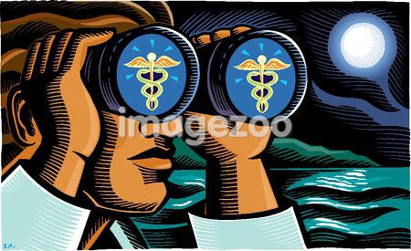A doctor looking through binoculars with caduceus symbols in the lenses