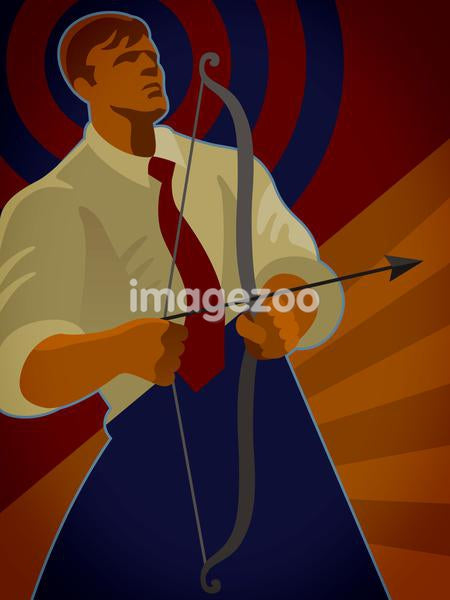 A businessman holding a bow and arrow