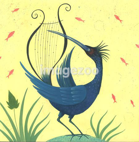 A bird playing a harp with its beak