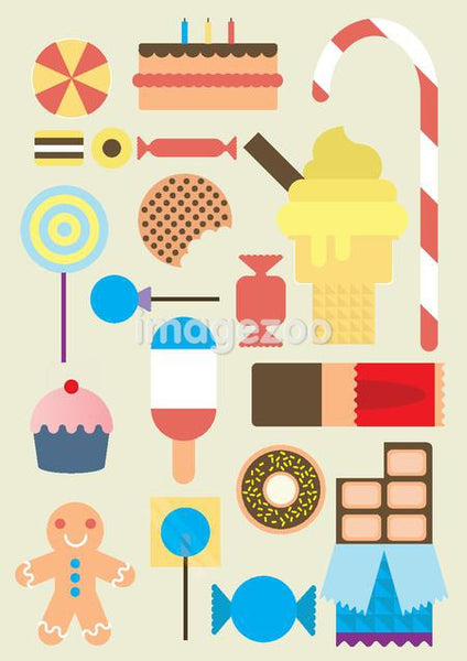 Icons about desserts and sweets