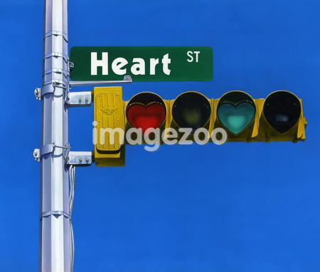 Heart shaped signal lights with street name board