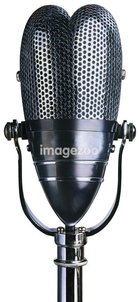 Heart shaped microphone against white background