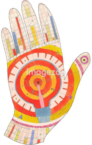 A graphical representatin of a hand with charts