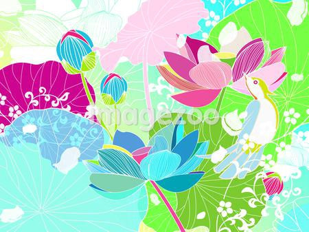 Illustration of a colorful background with flowers and birds