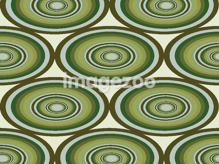 A design of stretched circles with shades of green and brown